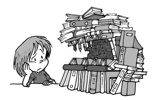 khối lượng sách vở tại pháp